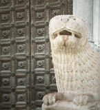 Medieval lion sculpture stock images