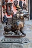 Medieval lion Statue at Pattan,Kathmandu valley, Nepal stock photos