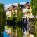 Medieval Ljubljana, capital of Slovenia, Europe. Royalty Free Stock Photography