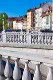 Medieval Ljubljana, capital of Slovenia, Europe. Romantic medieval Ljubljana's city center, the capital of Slovenia, Europe. Gallus bank of river Ljubljanica Stock Photo