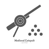 Medieval logo emblem template, black simple style Stock Photos