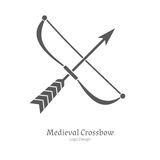 Medieval logo emblem template, black simple style Stock Photo