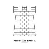 Medieval logo emblem template with outline icon. Medieval brick tower, fortification. Single logo in modern thin line style isolated on white background. Outline Royalty Free Stock Image