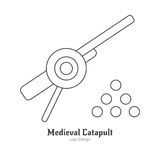 Medieval logo emblem template with outline icon. Medieval cannon with cannonballs, catapult. Single logo in thin line style isolated on white background. Outline Stock Images