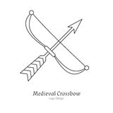 Medieval logo emblem template with outline icon Royalty Free Stock Image
