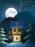 Medieval lonely mountain house Stock Images