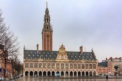 Medieval-looking gothic building of the University Library in Leuven, Belgium. Ornate medieval-looking gothic building of the University Library in Leuven stock photo