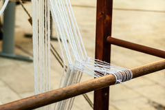 Medieval loom. Some traditional sewing and knitting tools in a medieval fair Royalty Free Stock Photos