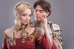 Medieval lovers. Fairy couple in medieval costumes stock photo