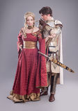 Medieval lovers. Fairy couple in medieval costumes Royalty Free Stock Photo