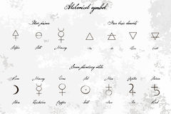 Medieval Magical Alchemical science signs set, hand-drawn ink style. Primes, basic elements, planetary metals with hand drawn vint Stock Photos