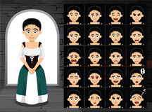 Medieval Maid Cartoon Emotion Faces Vector Illustration Royalty Free Stock Photo