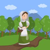 Medieval maid on summer landscape background vector Illustration. In cartoon style Stock Photo