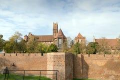 Medieval Malbork castle on the river Nogat Stock Photo