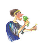 Medieval man eating- watercolor illustration stock photos