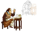 Medieval man with a pen and scrolls Royalty Free Stock Images