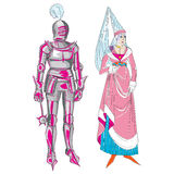 Medieval man and woman. Fictional outfits inspired by medieval costumes, hand drawn cartoon illustrations isolated on white Stock Photography