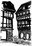 Medieval mansion drawing. Night medieval street and mansions In a black-and-white graphic Royalty Free Stock Images