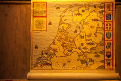 Medieval map of Holland territories. Muidenslot, Holland. Royalty Free Stock Photos
