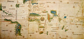 Medieval Map Of The World Stock Photos