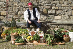 Medieval market. The Historical reenactment Stock Images
