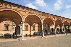 Medieval market square in Bologna Stock Photography