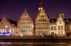 Medieval merchant houses Ghent, Belgium Stock Images