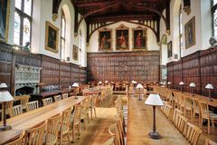 Medieval Mess Hall in Magdalen College, Oxford stock image