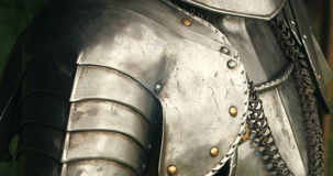 Medieval metal armor. Armour of the medieval knight stock video