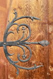 Medieval metal decorations on old door Stock Photo