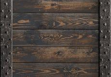 Medieval metal frame over wooden planks 3d illustration Royalty Free Stock Images