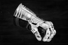 Medieval metal glove, detail of part of ancient armor. Detail of war Royalty Free Stock Photography
