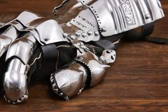 Medieval metal glove, detail of part of ancient armor. Detail of war Stock Image