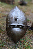 Medieval metal helmet Stock Photos