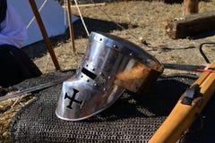 Medieval metal helmet Stock Image