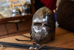 Medieval metal helmet Royalty Free Stock Images
