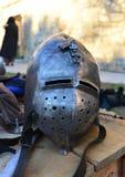 Medieval metal helmet Stock Photography