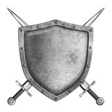 Medieval metal knight shield with crossed swords coat of arms Stock Image