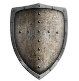 Medieval metal shield isolated Stock Photos