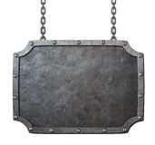 Medieval metal sign or frame with chains isolated. On white Stock Photography