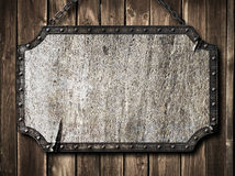 Medieval metal signboard or road sign Royalty Free Stock Photography