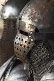 Medieval metal warrior helmet Stock Images