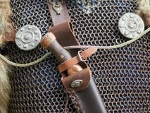 Medieval weapons. Medieval metal weapons and clothes Stock Photography
