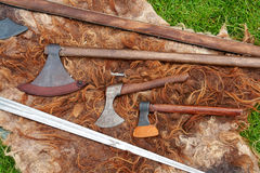Medieval Middle Ages battle axes Stock Photos
