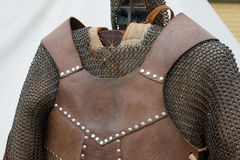 Medieval middle ages knight armour. In close up detailed view royalty free stock photo