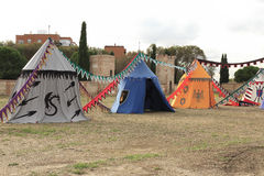 Medieval military camp Stock Image