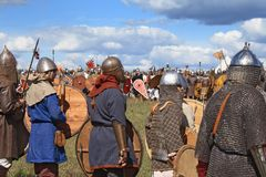Medieval military festival Voinovo Pole (Warriors' Field). DRAKINO, RUSSIA - AUGUST 23: audience (more 10000) and participants (about 120) of medieval military stock image