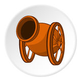 Medieval military throwing gun icon, cartoon style Royalty Free Stock Images