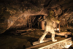 Medieval miners at work in Wieliczka Salt Mine Royalty Free Stock Photos