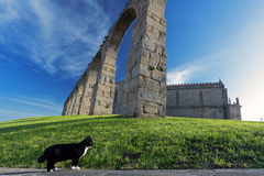 Medieval monastery and aqueduct Stock Photo